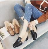小鄧子方頭粗跟毛毛鞋女冬季2017新款韓版百搭兔毛豆豆鞋中跟加絨小皮鞋