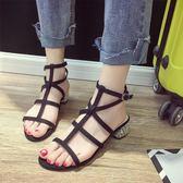綁帶涼鞋女夏新款韓版簡約粗跟黑色中跟一字扣學生chic羅馬鞋 時尚芭莎