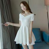 年終大促2018夏季新款女裝一字肩露肩a字蓬蓬裙白色夜店連身裙性感小禮服 熊貓本