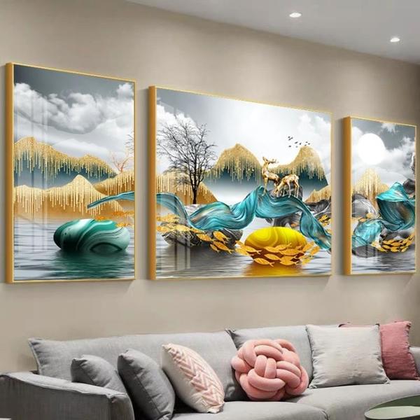 客廳裝飾畫沙發背景牆掛畫大氣晶瓷畫輕奢三聯畫北歐現代壁畫牆畫 「雙11狂歡購」