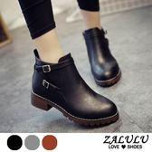 ZALULU愛鞋館 7HE247 【熱銷百雙】英倫風簡約皮帶扣低跟短靴-黑/灰/棕-偏小-36-40