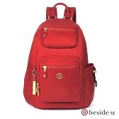 beside u BNUA 防盜刷格紋後開式後背包 小款 – 紅色 原廠公司貨