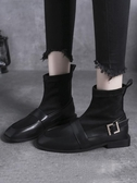 特賣襪子靴女短靴秋季新款百搭平底網紅瘦瘦靴低跟英倫風小皮鞋潮