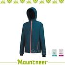 【Mountneer 山林 男 輕量三層SOFTSHELL外套《藍綠》】22J09-84/防潑水/慢跑外套/彈性