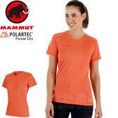 Mammut 1017-00140-3459小檗紅 長毛象 女排汗透氣中層衣 Sertig運動T恤 登山健行休閒衣/路跑野跑衫
