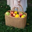 購物籃塑料仿藤編水果籃