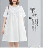 蕾絲洋裝 大碼女裝200斤胖mm夏裝新款蕾絲網紗拼接寬松減齡遮肚顯瘦連衣裙 快速出貨