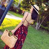 巴厘島海邊度假沙灘長裙夏裝新款雪紡印花露背顯瘦開叉吊帶連衣裙 雙12鉅惠 聖誕交換禮物