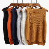 針織背心-秋冬季新款毛衣背心馬甲女裝韓版寬鬆外套百搭無袖針織衫學生 依夏嚴選