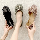 低跟鞋 珍珠水鉆單鞋女鞋夏2020新款春淺口百搭低跟孕婦懶人平底豆