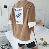 原宿港風bf男學生ulzzang短袖t恤衫正韓寬鬆五分半截7七分袖 年貨慶典 限時八折