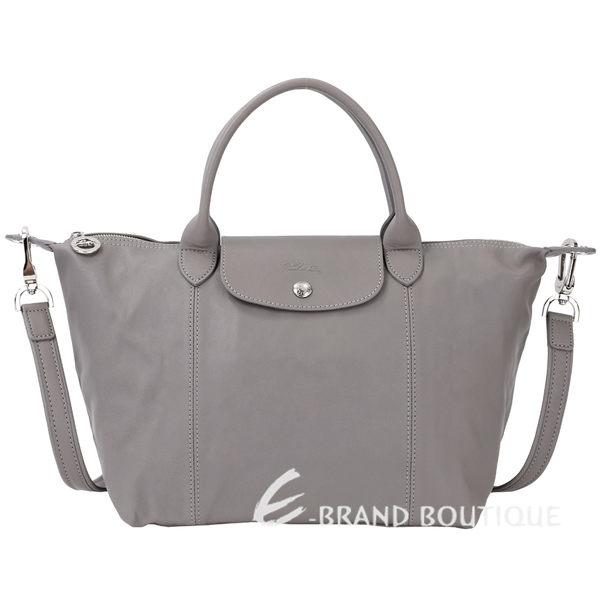 LONGCHAMP Le pliage Cuir 短把皮革摺疊兩用包(小/灰色) 1340242-06