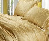 頂級緹花布純蠶絲被套6*7台尺+枕頭套*2只(金/粉)