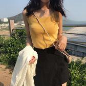 韓版新款港味復古chic性感上衣無袖背心露背小心機吊帶女內搭 錢夫人小鋪