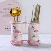 北歐火烈鳥筷子筒瀝水家用筷子桶筷子盒收納置物架陶瓷雙筒筷子籠
