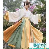 漢服 五五年漢服女夏至芒種晉制交領一片式襦裙三件套9米12米裙擺 【海闊天空】