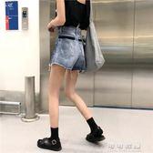 韓版休閒做舊水洗拼色毛邊百搭牛仔短褲高腰復古港風 可可鞋櫃