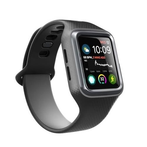 【Clayco】Apple Watch 1/2/3/4 LTE 38/42/40/44mm 金屬色保護殼╳菱格紋錶帶