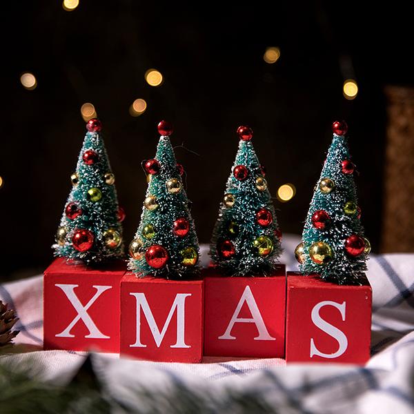 迷你小圣誕樹裝飾XMAS擺件圣誕節桌面擺件北歐圣誕裝飾品場景布置