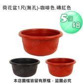 荷花盆1尺(無孔)-咖啡色.磚紅色 5個/組磚紅色