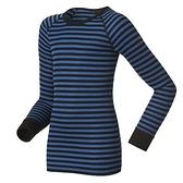 【速捷戶外】《ODLO》瑞士ODLO 10459 機能銀纖維長效保暖底層衣長袖 - -兒童 藍黑條紋