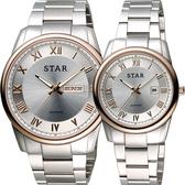 STAR 時代 羅馬城市時尚對錶/情侶手錶-銀x玫瑰金框/43+32mm 1T1512-211RG-W+1T1512-111RG-W
