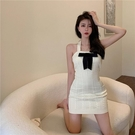 掛脖洋裝 針織連身裙女蝴蝶結修身收腰掛脖吊帶短裙2021年夏季新款包臀裙子 韓國時尚 618