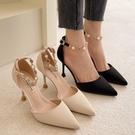 尖頭鞋.法式質感大理石紋金鍊珍珠繞帶高跟包鞋.白鳥麗子