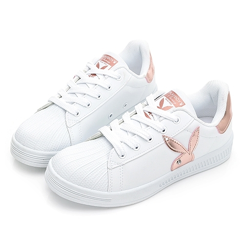 PLAYBOY 閃閃霓光貝殼小白鞋 -白玫瑰金(Y7221)