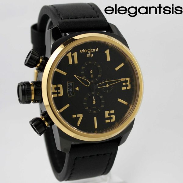 【萬年鐘錶】elegantsis 三眼戰鬥狙擊鏡造型元素風格 大錶徑 黑x金框 48mm  ELJT48-OB13LC