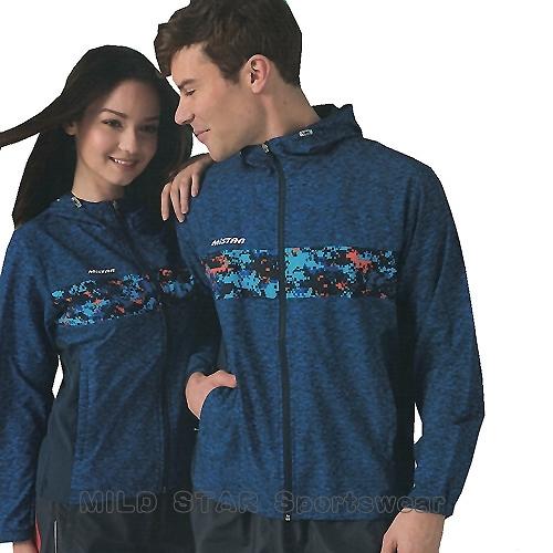 MILD STAR 男女平織網裡運動服套裝[全套]#JS180105+PS180501-寶藍麻花