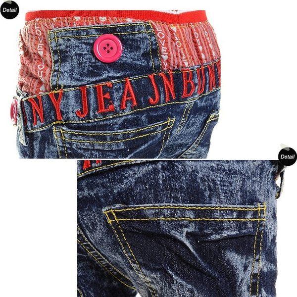 韓版《紅腰LOVE款》水洗磨白牛仔中褲