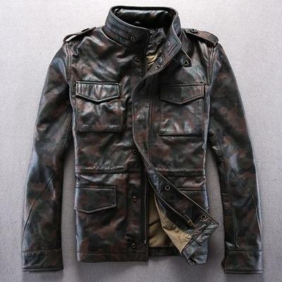 真皮外套-短款迷彩肩章立領牛皮男機車夾克2款72ae49[巴黎精品]