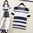 大碼針織上衣XL-4XL2143胖mm條紋冰絲針織短袖T恤大碼女裝顯瘦寬松上衣2F111Z依佳衣