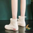 雨鞋女時尚外穿短筒加絨冬季棉雨靴可愛成人中筒防滑防水鞋【創世紀生活館】