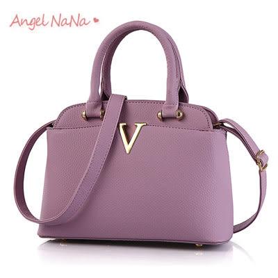 手提包。AngelNaNa 歐美OL 簡約V字  側背包 女斜背包 (SBA0157)