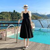 洋裝短袖~9276 赫本風法式連身裙收腰顯瘦女約會小黑裙H-325 胖妞身櫥