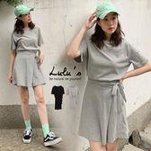 LULUS-C側綁結腰鬆緊短袖洋裝-2色  【02030482】