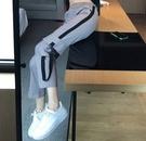 EASON SHOP(GW5171)實拍復古多口袋撞色拼接飄帶設計鬆緊腰收腰工裝褲女高腰長褲直筒九分褲休閒褲