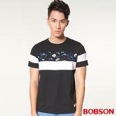 【BOBSON】男款剪接拼色印圖上衣 (27018-88)