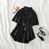 襯衫洋裝夏裝帥氣裙子收腰港風中長款洋裝洋氣襯衣短袖黑色氣質襯衫裙女 JUST M
