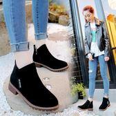 馬丁靴女韓版學生復古短靴圓頭粗跟厚底磨砂單靴