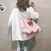 尼龍斜背包高級感尼龍包包女2020新款大容量托特包休閒港風時尚側背斜背包潮 玩趣3C