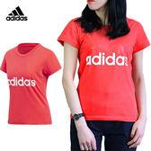 Adidas Essential Linear 女 桃紅 運動上衣 大學T 衛衣 棉 毛圈棉衛衣 愛迪達 短袖T恤 CF8822