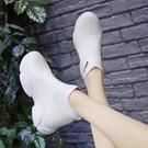 彈力襪子鞋夏季新款透氣網面女爆款老爹網紅厚底內增高小白鞋