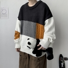 男士毛衣時尚加厚上衣 潮流學生卡通秋冬保暖打底衫 拼接慵懶風男生針織衫 長袖男生韓版毛衣