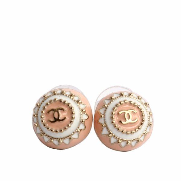 【CHANEL】CC LOGO立體造型貼耳耳環(粉) CH47100019