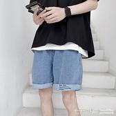 五分褲~ 淺色牛仔短褲男寬鬆5五分褲外穿夏季薄款ins嘻哈2021新款褲子