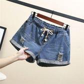 大尺碼短褲牛仔短褲女200斤夏季韓版松緊腰大碼a字闊腿褲熱褲G309(R11)