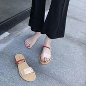平底chic拖鞋ins透明涼拖兩穿女夏時尚外穿潮韓版新款拖鞋女